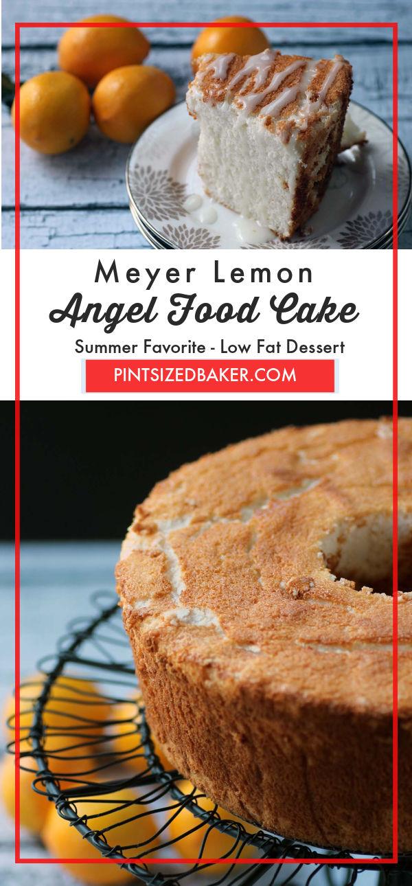 A collage image of the Meyer lemon angel food cake.