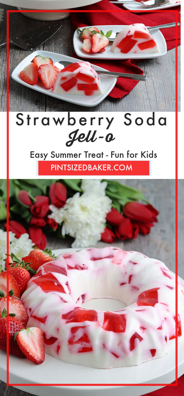 Collage image of the strawberry soda jell-o dessert.
