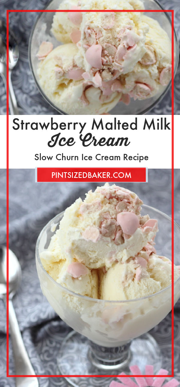 Bring back the flavor of a soda shop with this Strawberry Malted Milk Ice Cream. It's got a sweet strawberry flavor and is packed full of strawberry Whoppers.