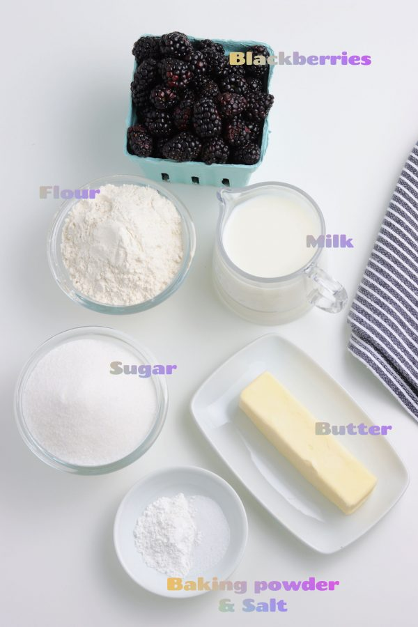 Image of the ingredients needed to make this recipe - blackberries, flour, milk, sugar, butter, baking powder, & salt.