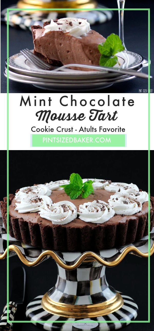 This Mint Chocolate Mousse Tart starts with a mint chocolate cookie crust and is filled with a delightfully smooth mousse filling.