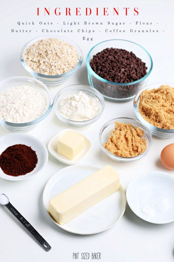 Ingredients needed to make the Oatmeal Fudge Bars. Quick oats, light brown sugar, flour, butter, chocolate chips, coffee granules, and egg.