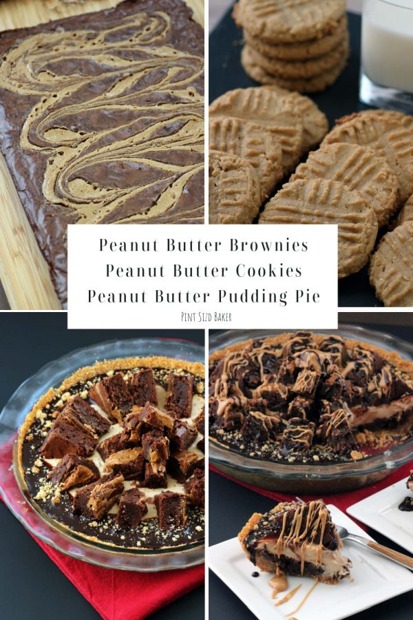 A collage image of all three recipes that were used to make the Peanut Butter Pudding Pie recipe.