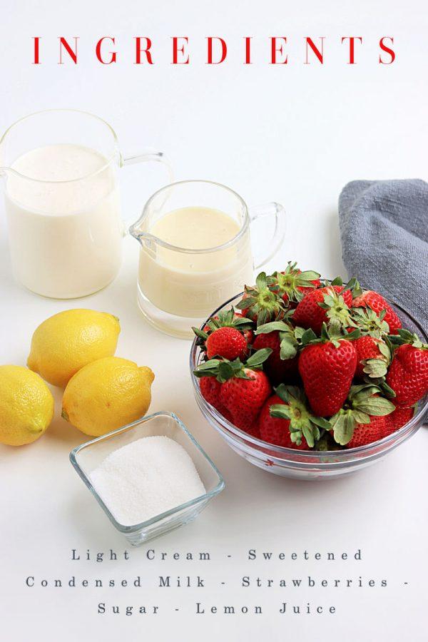Basic ingredients needed - cream, condensed milk, strawberries, sugar, and lemon juice.