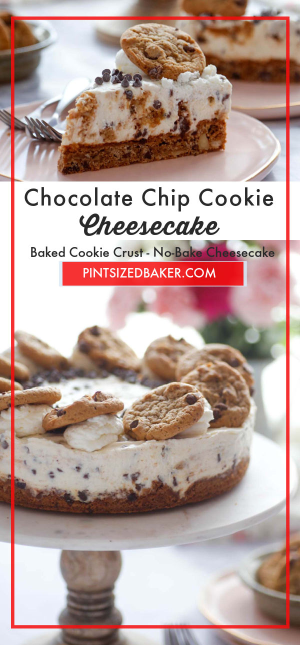 You get two treats in one with this Chocolate Chip Cookie Cheesecake dessert! A baked chocolate chip cookie crust plus a no-bake cheesecake filling. It's a match made in dessert heaven!