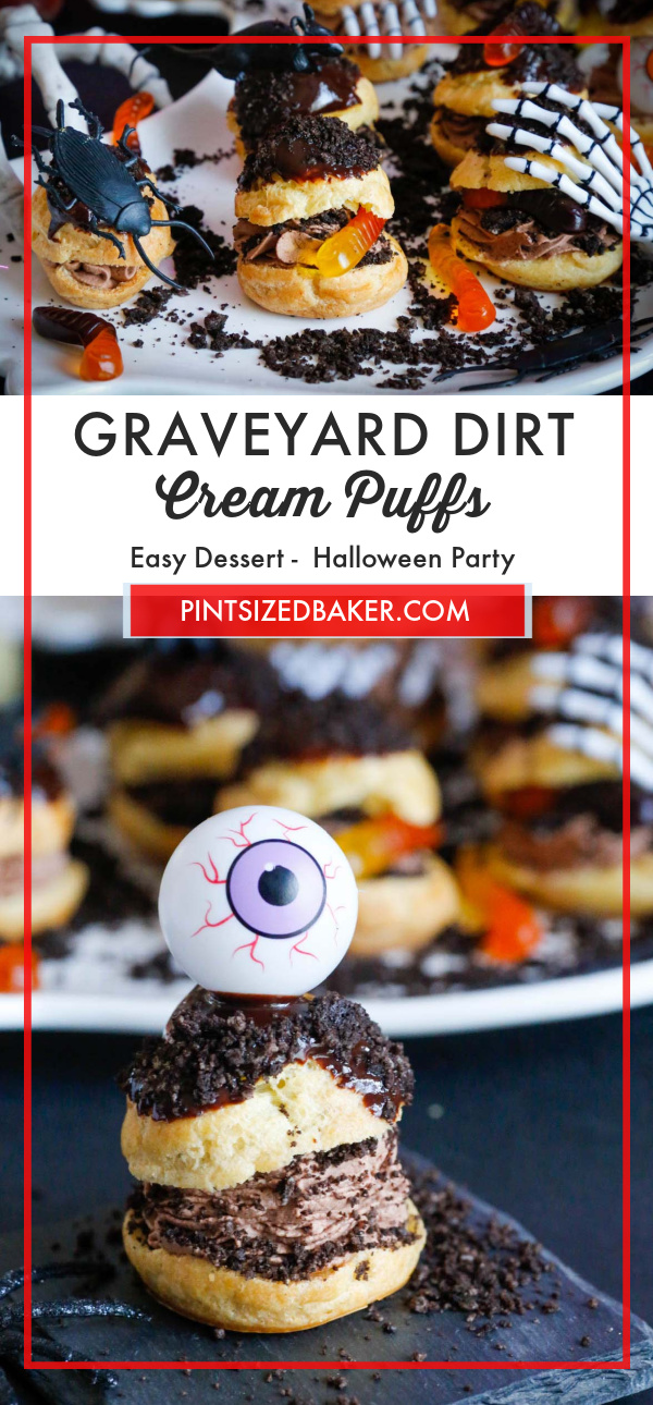 If you're looking for a Halloween treat recipe that looks and tastes spooktacular, look no further than these Graveyard Dirt Cream Puffs!